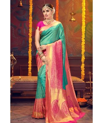 Teal woven blended silk kanjivaram saree with blouse