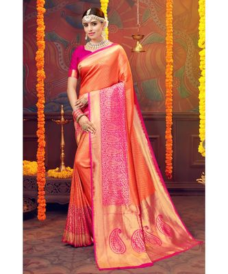 orange woven blended silk kanjivaram saree with blouse