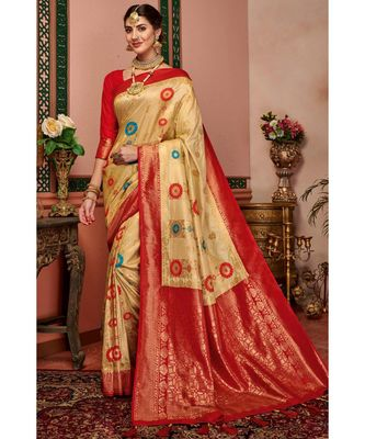 Beige woven blended silk kanjivaram saree with blouse