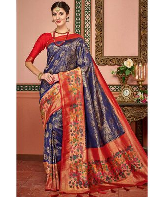 Blue woven blended silk kanjivaram saree with blouse