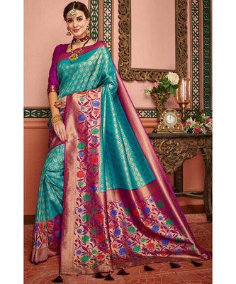 Blue woven blended silk kanjivaram saree with blouse