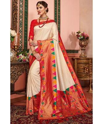 Off-white woven blended silk kanjivaram saree with blouse