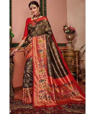 Brown woven blended silk kanjivaram saree with blouse