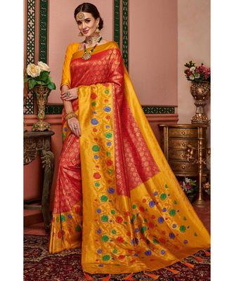 Red woven blended silk kanjivaram saree with blouse