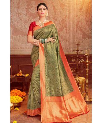 Yellow woven blended silk kanjivaram saree with blouse