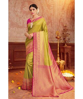 green woven blended silk kanjivaram saree with blouse