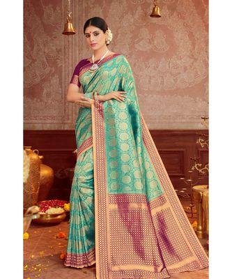 sea green woven blended silk kanjivaram saree with blouse