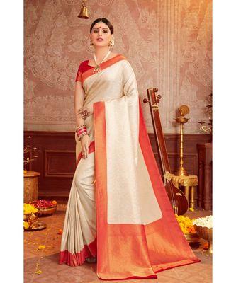 Beige woven blended silk kanjivaram saree with blouse
