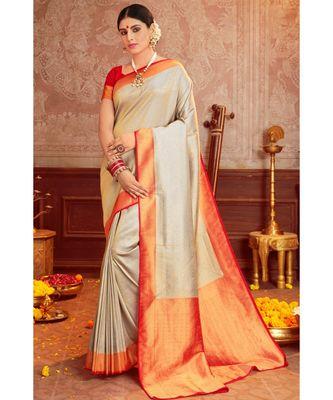 Grey woven blended silk kanjivaram saree with blouse