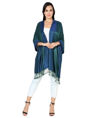 Navy Blue-Green Super Fine Soft Women's Viscose Reversible Pashmina Scarf, Stole & Wrap with Hanger