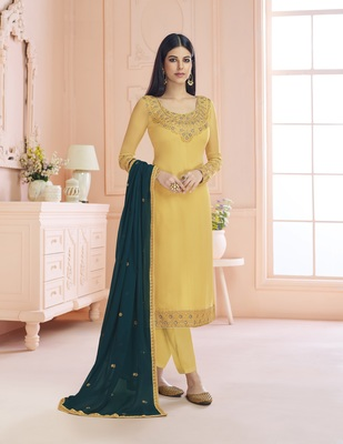 Yellow Satin Georgette Embroider Work Straight Semi Suit