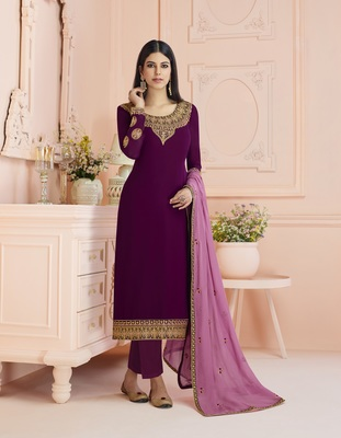 Purple Satin Georgette Embroider Work Straight Semi Suit