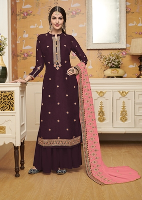 Dark-wine embroidered crepe salwar