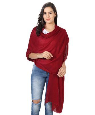 Maroon Super Fine Blended Ultra Soft & Warm Wool Silk Unisex Pashmina Shawl, Stole & Wrap with Hanger