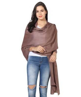 Sandy brown Super Fine Blended Ultra Soft & Warm Wool Silk Unisex Pashmina Shawl, Stole & Wrap with Hanger