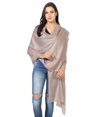 Dark Beige Super Fine Blended Ultra Soft & Warm Wool Silk Unisex Pashmina Shawl, Stole & Wrap with Hanger