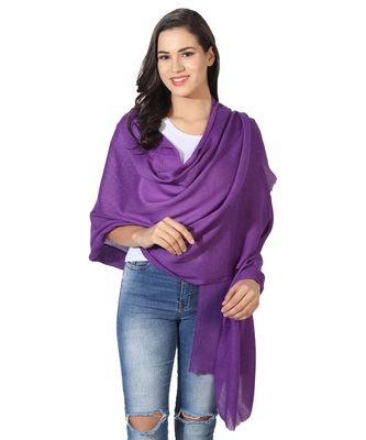 Purple Super Fine Blended Ultra Soft & Warm Wool Silk Unisex Pashmina Shawl, Stole & Wrap with Hanger