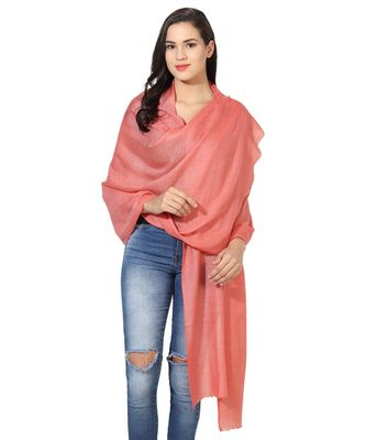 Peach Super Fine Blended Ultra Soft & Warm Wool Silk Unisex Pashmina Shawl, Stole & Wrap with Hanger
