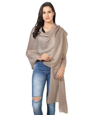 Tan Super Fine Blended Ultra Soft & Warm Wool Silk Unisex Pashmina Shawl, Stole & Wrap with Hanger