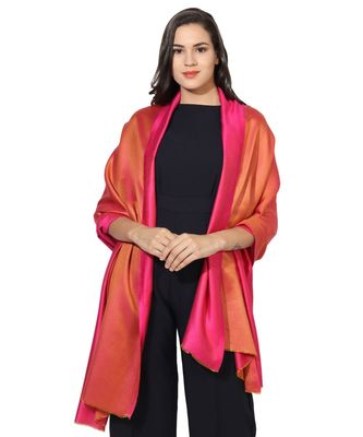 Pink & Orange Super Fine Soft Women's Mudal Reversible Scarf, Stole & Wrap with Hanger