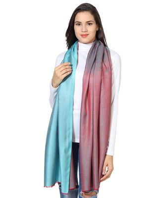 Turquoise & Red  Super Fine Soft Women's Mudal Reversible Scarf, Stole & Wrap with Hanger