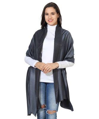 Grey & Black  Super Fine Soft Women's Mudal Reversible Scarf, Stole & Wrap with Hanger