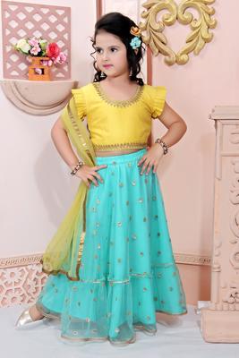 Yellow Embroidered Cotton Silk  Lehenga Choli Dupatta