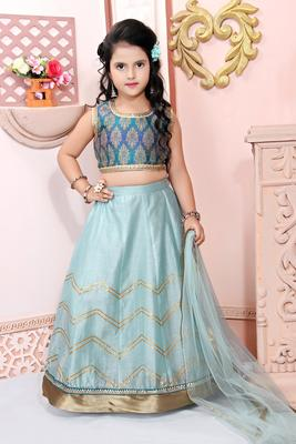 Blue Embroidered Brocade Lehenga Choli Dupatta