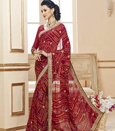 Buy Maroon embroidered crepe saree with blouse bandhani-sarees-bandhej online