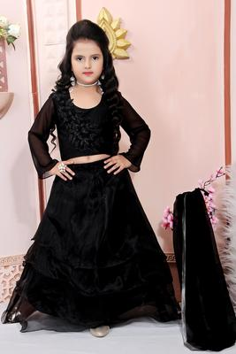 Black Embroidered Cotton Silk Lehenga Choli Dupatta