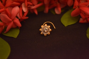 Designer Stone Studded Premium Gold Plated diamond nose-ring or Nose Pin