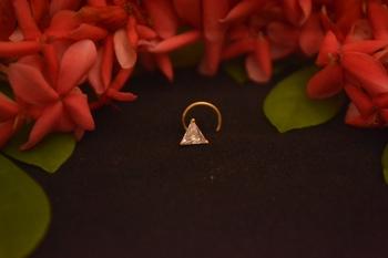 Designer Stone Studded Triangular Premium Gold Plated diamond nose-ring or Nose Pin