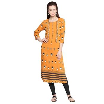 Mustard Printed & Embellished Kurta For Women