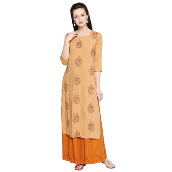 Mustard Mustard Embroidered Kurta with Skirt For Women