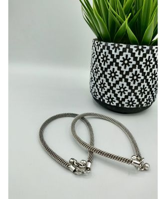 Set of 2 Oxidised Silver-Plated German Silver Anklets
