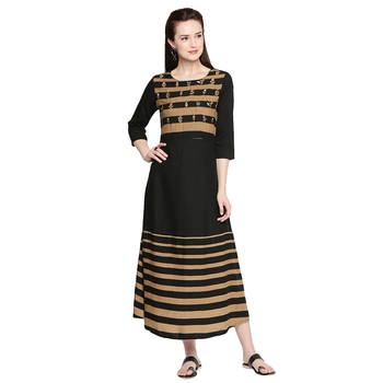 Black Black Embroidered Gown For Women
