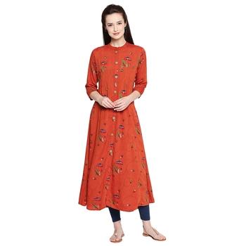 Orange Embellishmed ALine Long Kurta For Women