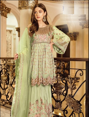 G-Collection Green Pakistani Fency Georgette Embroderi Semi Suit