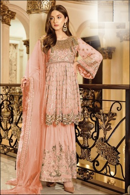 G-Collection Pink Pakistani Fency Georgette Embroderi Semi Suit