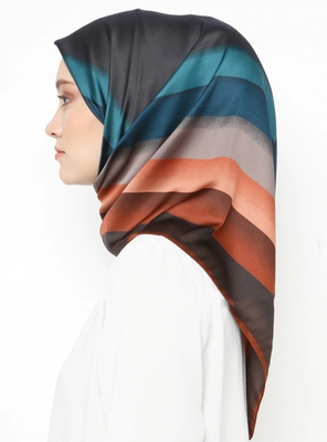 Women'S Daily Wear Satin Silk Printed Square Scarf Hijab