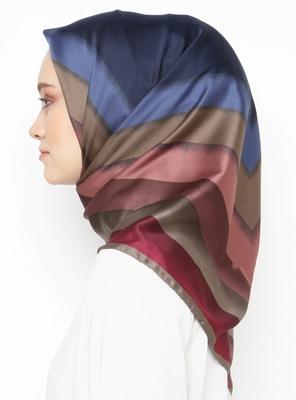 Women'S 110*110 Cm Printed Satin Silk Square Scarf Hijab