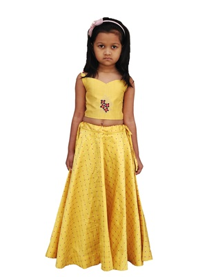 Kids Yellow Blouse And Lehenga Choli