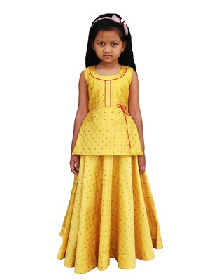 Kids Yellow Top And Lehenga Choli
