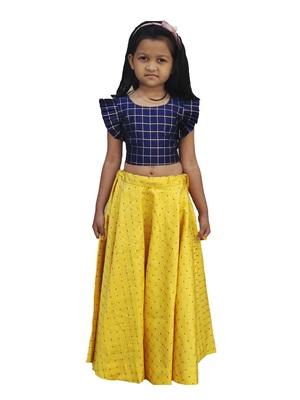 Kids Blue Blouse And Yellow Lehenga Choli