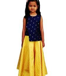 Kids Blue Top And Yellow Cotton Silk Lehenga Choli