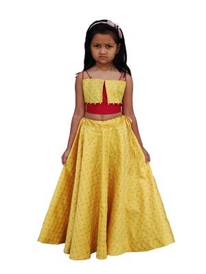 Kids Yellow Lehenga Choli For Girls