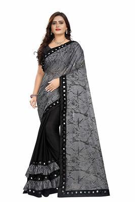 Grey printed lycra saree with blouse