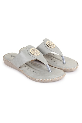 Beautiful Grey color synthetic material flats for women's