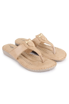 Beautiful Beige color synthetic material flats for women's