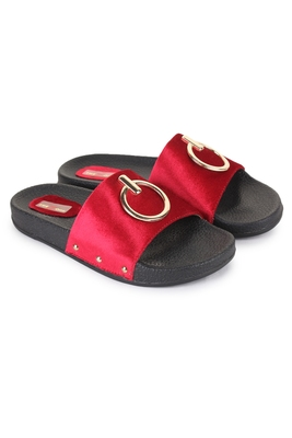 Beautiful Red color synthetic material flats for women's